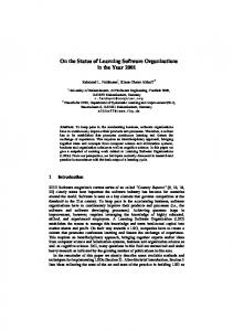 On the Status of Learning Software Organizations in the ... - CiteSeerX