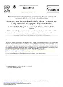 On the Structural Features of Mechanically Alloyed Cu ... - Science Direct