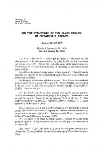 on the structure of the class groups of metacyclic groups - Project Euclid