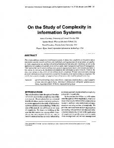On the Study of Complexity in Information Systems - Semantic Scholar