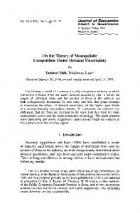 On the theory of monopolistic competition under ... - Springer Link