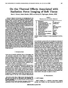 On the Thermal Effects Associated with Radiation Force Imaging of ...