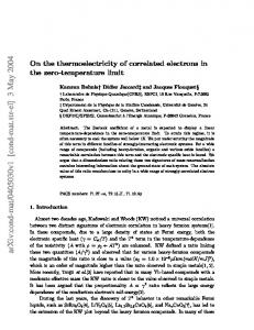 On the thermoelectricity of correlated electrons in the zero-temperature ...
