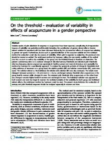 On the threshold - evaluation of variability in effects of ... - BioMedSearch
