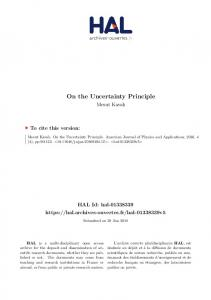 On the Uncertainty Principle - HAL