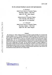 On the universal identity in second order hydrodynamics