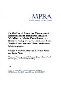 On the Use of Formative Measurement Specifications in Structural