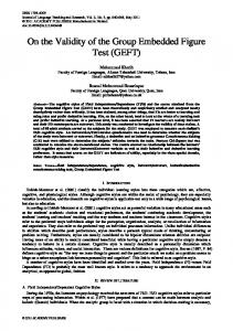 On the Validity of the Group Embedded Figure Test (GEFT)