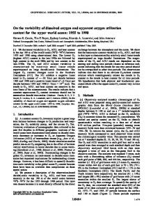 On the variability of dissolved oxygen and apparent oxygen utilization ...