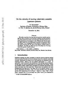 On the velocity of moving relativistic unstable quantum systems