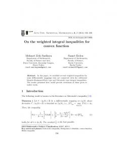 On the weighted integral inequalities for convex function