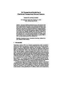 On Transactional Scheduling in Distributed ... - Semantic Scholar