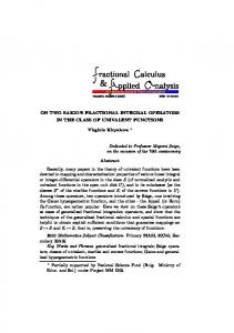 ON TWO SAIGO'S FRACTIONAL INTEGRAL OPERATORS IN THE ...