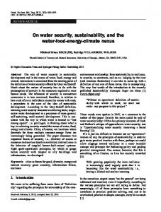 On water security, sustainability, and the water-food-energy-climate ...