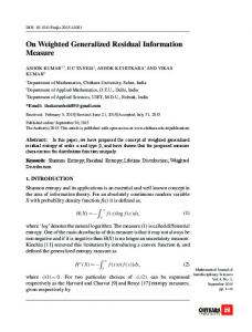On Weighted Generalized Residual Information
