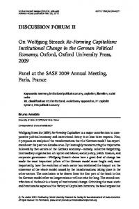 On Wolfgang Streeck Re-Forming Capitalism: Institutional Change in ...