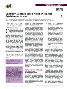 Oncology Evidence-Based Nutrition Practice Guideline for ... - SMeO