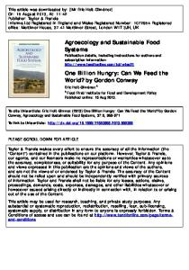 One Billion Hungry: Can We Feed the World? by ...