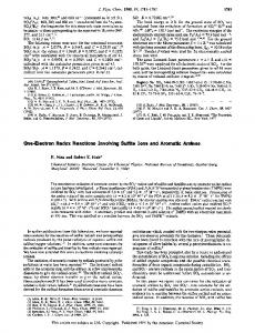 One-Electron Redox Reactions Involving Sulfite ... - ACS Publications