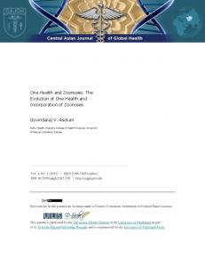 One Health and Zoonoses - Central Asian Journal of Global Health