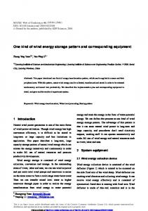 One kind of wind energy storage pattern and corresponding equipment