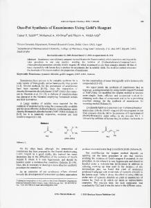 One-Pot Synthesis of Enaminones Using Gold's Reagent