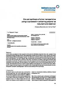 One pot synthesis of silver nanoparticles using a ... - Beilstein Journals