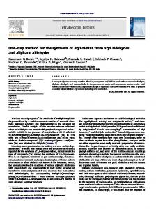 One-step method for the synthesis of aryl olefins from