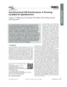 OneDimensional CdS Nanostructures: A Promising ...