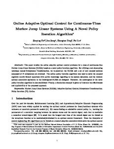 Online Adaptive Optimal Control for Continuous-Time Markov Jump ...