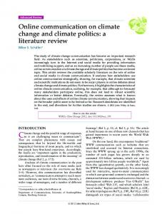 Online communication on climate change and climate politics - IPMZ