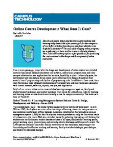 Online Course Development: What Does It Cost? - instructional media ...