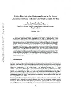 Online Discriminative Dictionary Learning for Image Classification ...