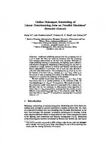 Online Makespan Scheduling of Linear Deteriorating Jobs on Parallel ...