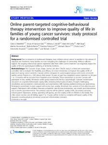 Online parent-targeted cognitive-behavioural therapy intervention to ...