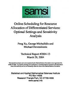 Online Scheduling for Resource Allocation of Differentiated ... - SAMSI