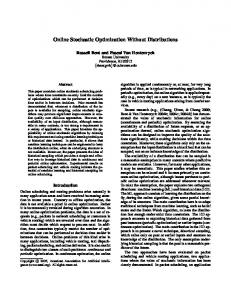 Online Stochastic Optimization Without Distributions