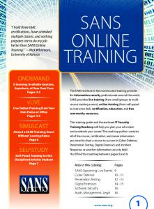 Online Training Course Catalog