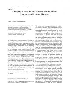 Ontogeny of Additive and Maternal Genetic Effects