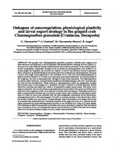 Ontogeny of osmoregulation, physiological plasticity and larval export ...