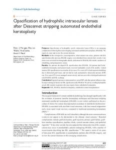 Opacification of hydrophilic intraocular lenses after ... - Semantic Scholar