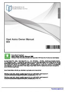 OPEL ASTRA Owner's Manual
