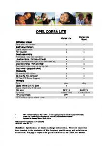 Opel Corsa Lite Specifications - thorpauto.co.za