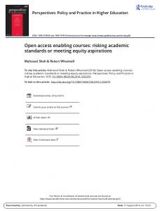 Open access enabling courses: risking academic ...