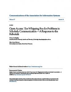 Open Access: The Whipping Boy for Problems ... - AIS Electronic Library