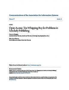 Open Access: The Whipping Boy for Problems in Scholarly Publishing