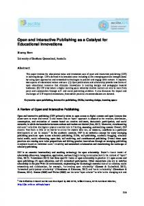 Open and Interactive Publishing as a Catalyst for ...