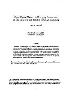 Open Capital Markets in Emerging Economies: The Social Costs and ...