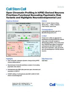Open Chromatin Profiling in hiPSC-Derived Neurons Prioritizes ...