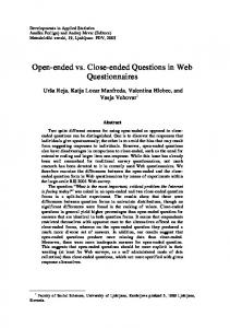 Open-ended vs. Close-ended Questions in Web Questionnaires